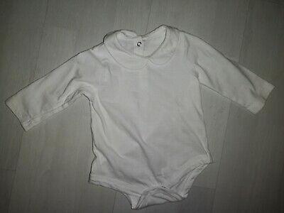 Baby Peter Pan Collar All In One Long Sleeve Body Suit Size 0-3 Months White