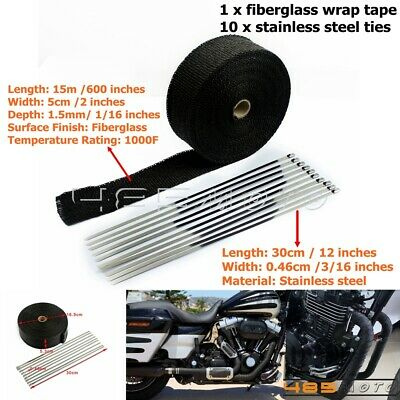 50ft Black Roll Racing Exhaust Header Heat Wrap Tape A Ties Manifold Pipe News