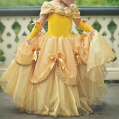 Princess Kids Girls Belle Beauty and Beast Dress Cosplay Costume Party Tutu Gown