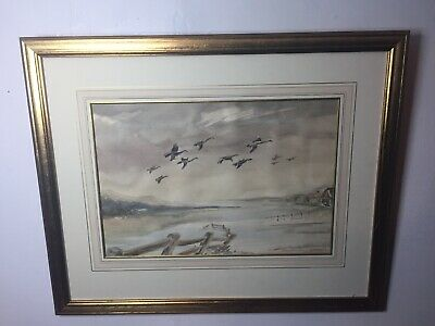 Vintage Impressionist Painting Geese in Flight. Signed, Dated and Framed