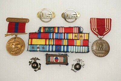 US Marine Corps and USAF Medal Group WWII Korea Good Conduct Ribbons etc C1063