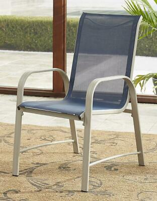 7a1549bd5694 COSCO Outdoor Living Paloma Steel Patio Dining Chairs, Navy Blue Sling, Sand