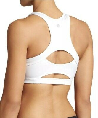 8c1d4c2364  49 Athleta Double Dare Cut Out Back Padded White Sports Bra Size XS Lycra