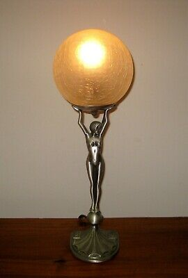 "Diana "" Nude Lady Art Deco Style Lamp & Shade*excellent Working Condition"