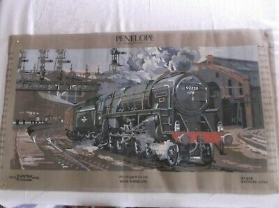 Unworked Large Tapestry Canvas. Evening Star Train. Made England
