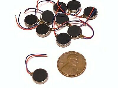 10 Pieces  Vibration Motor DC 3V Wired 10mm x 3.2 Coin Cell Phone vibrating A16