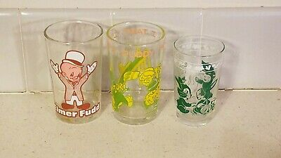 Lot 3 1974/76 Elmer Fudd Sylvester Tweety Bird Jelly Jar Juice Glass Swanky Swig