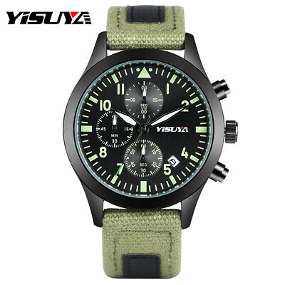 YISUYA Brand Watch for Men Luminous Chronograph Date Canvas Strap Bangle Gift