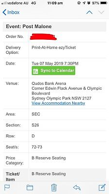 Post Malone tickets Sydney (Qudos Bank Arena) Tuesday 7 May 2019