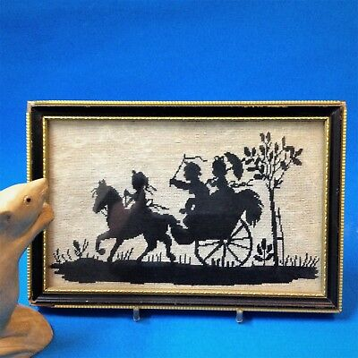 60s Vintage - Framed Silhouette Petit Point Tapestry - Horse & Buggy - 22 x 15cm