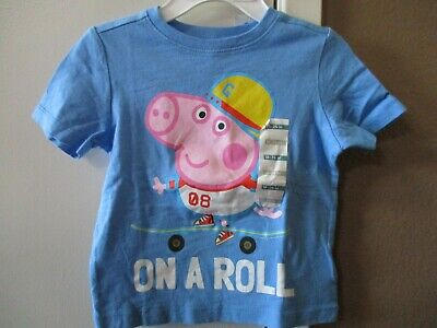 PEPPA PIG Toddler Boys On A Skateboard T-Shirt Top Blue Size 18-24 Months NEW