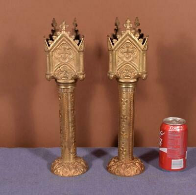 "15"" Antique Gilded Bronze Church Candlesticks Candelabra Religious"
