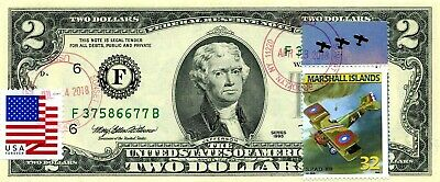 Us $2 Dollars 1995 Stamp Cancel Legendary Biplanes S. P. A. D. Xiii 1920 $75.5