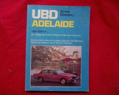 Vintage UBD Street Directory of Adelaide 18th Edition Holden VH Commodore cover
