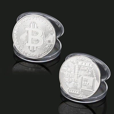 1PC Silver Medal Plated BTC Bitcoin Coin Commemorative Round Collectors Bit Coin