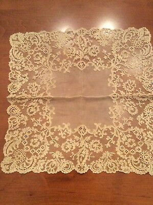 Vintage Antique White French Tambour Net Lace Wedding Hankerchief Hanky