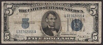 1934-B $5 Five Dollar Silver Certificate Blue Seal VG ~ Old U.S. Currency (D160)