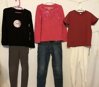 Lot of Girls Clothing 1 Pair of Jeans, 2 Leggings,  2 LS Tops. 1 SS Top, Size 6