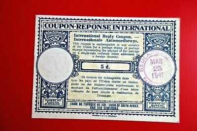 UNION of SOUTH AFRICA  :INTERNATIONAL REPLY COUPON  5d  (1941)