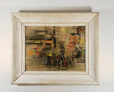 Mid-20th Century Abstract painting of NYC downtown crowd - 1960s - signed Satya