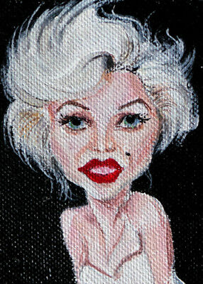"""ACEO Original Painting Grotesque Caricature """"Marilyn Monroe"""""""