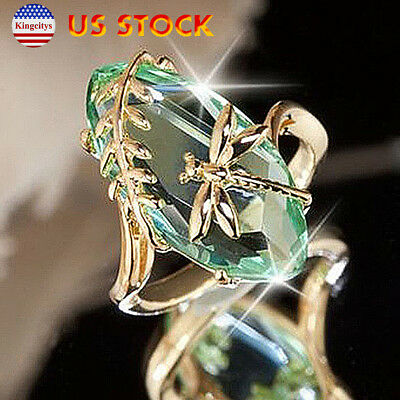 Fashion Jewelry Gift For Women Exquisite Ring Dragonfly And Grass Olive Green