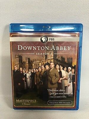 Downton Abbey: Season 2 (Blu-ray Disc, 2012, 3-Disc Set) EX Free Shipping
