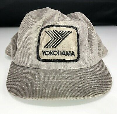 Vintage Snapback Hat Trucker Corduroy Yokohama Gray Swingster Good Condition