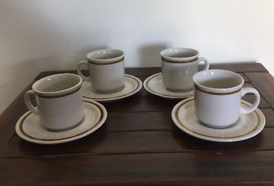4 Retro Stoneware Cups And Saucers Sets Mountain Wood Collection Lot 3 Of 3
