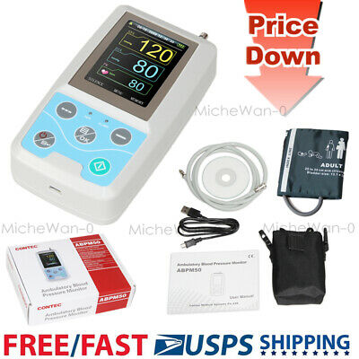 CONTEC ABPM50 Ambulatory Blood Pressure Monitor, 24H NIBP Holter Recorder PC SW