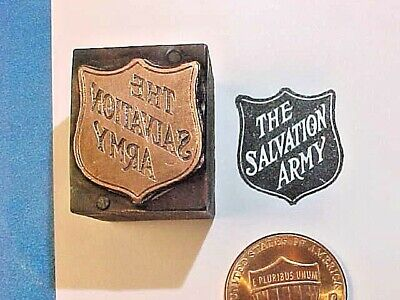 The SALVATION ARMY Founded 1865 England Charitable Org. Letterpress Printers Cut