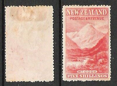 New Zealand 1898 5/- Mt Cook 'london' Pictorial (Hm)