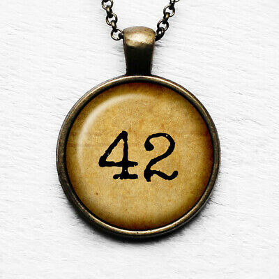 Hitch Hikers Guide to the Galaxy Meaning of Life 42 Antique Bronze Necklace