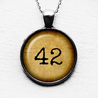 Hitch Hikers Guide to the Galaxy Meaning of Life 42 Antique Silver Necklace