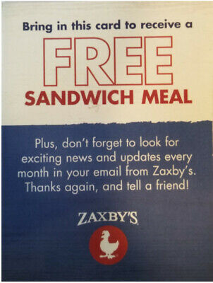 (3) Zaxby's Meal Passes - FREE COMBO MEAL - Fast Shipping!