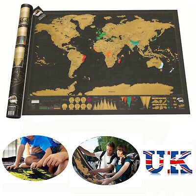 Scratch Off Travel World Map Deluxe Edition Travel Log Journal Poster Wall Decor