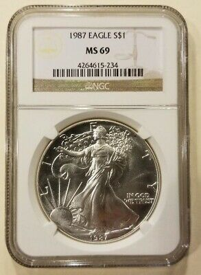 1987 1oz American Silver Eagle Graded NGC MS69 Cert# 4264615-234