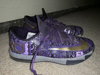 competitive price 6f590 3444c Nike KD 6 Durant VI BHM Black History Month Purple Gold Warriors Size 7.  OFFER