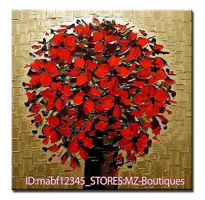 YH754 Hand painted Red blooming flowers Oil Canvas Wall Art home Decor NO Frame