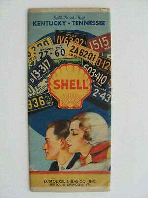 1932 Kentucky / Tennessee Shell map showing license plates. 87 years old.