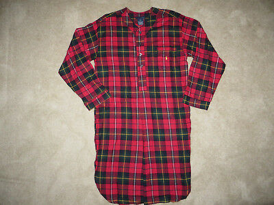 Polo Ralph Lauren Red Flannel Plaid Sleep Shirt Nightshirt Nightgown. Large  NWT