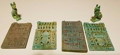 Rare Antiques Ancient Egyptian 4 Talisman + 2 Ubasti cat Amulets Egypt Stone BC
