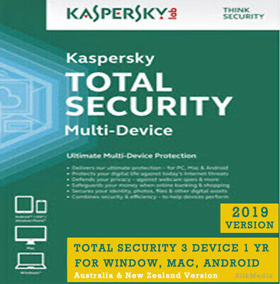 Latest Kaspersky Total Security, 3 Device 1 Yr -Win, MAC, Android - AU & NZ