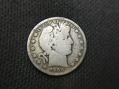 1905-S  Barber Half  Dollar  VG      3 OR MORE = FREE S/H   90% SILVER    J315
