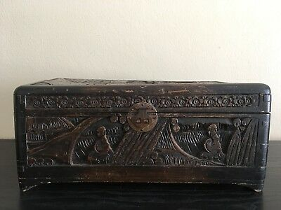 Chinese Antique Wood Carved Chest