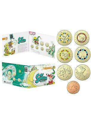 2019 Mr Squiggle 7 Coin Collection - 1c, 2 x $1 & 4 x $2 Coloured