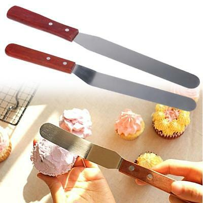 3X 6/8/10'' Stainless Steel Angled Cake Decorating Spatula Icing Palette Knife