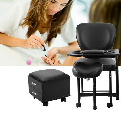 Manicure Pedicure Nail Station Trolley Stool Chair Spa Salon Beauty with Drawers