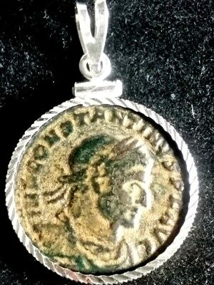 Constantine Great Sol Authentic Ancient Roman Sandy Coin Sterling Silver Pendant