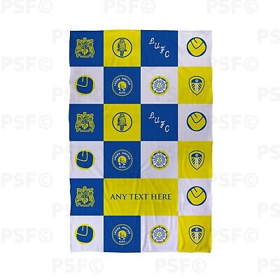 Leeds United FC Official Personalised Blue Check Squares LUFC Beach Towel LBT019